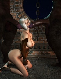 3d elf trying two very huge cock and gets ripped in all of her holes - part 782