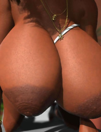 Ebony 3d hottie showing off her large natural boobs - part 562